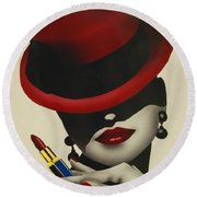 Christion Dior Red Hat Lady Round Beach Towel