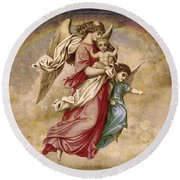 Christmas Angels And Baby Round Beach Towel
