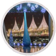 Christmas At Canada Place Round Beach Towel
