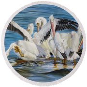 Christmas At Half Moon Island Round Beach Towel