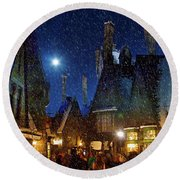 Christmas At Hogsmeade Blank Round Beach Towel