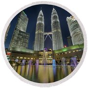 Christmas At Klcc Round Beach Towel