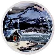 Christmas At The Lake V2 Round Beach Towel by Ron Chambers