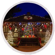 Christmas At The Lighthouse Gazebo Round Beach Towel