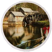 Round Beach Towel featuring the photograph Christmas At The Mill by Darren Fisher
