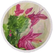 Christmas Cactus Round Beach Towel by Wendy Shoults