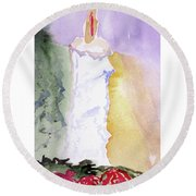 Christmas Candle 2 Round Beach Towel