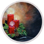 Round Beach Towel featuring the painting Christmas Candles by Alan Lakin