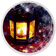 Round Beach Towel featuring the photograph Christmas Candles by Annie Zeno
