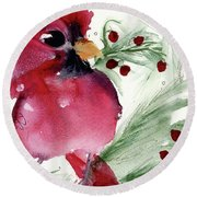 Round Beach Towel featuring the painting Christmas Cardinal by Dawn Derman