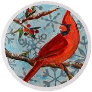 Christmas Cardinal Round Beach Towel
