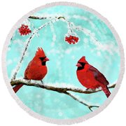 Round Beach Towel featuring the painting Christmas Cardinals by Leslie Allen