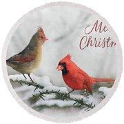 Christmas Cardinals Round Beach Towel by Lori Deiter