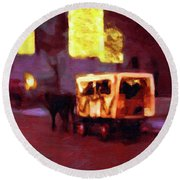 Round Beach Towel featuring the painting Christmas Carriage Ride In Vienna by Menega Sabidussi
