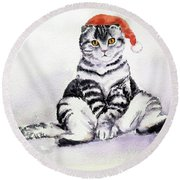 Christmas Cat Round Beach Towel
