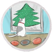 Christmas Cat Round Beach Towel by Haleh Mahbod