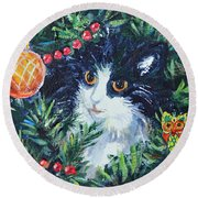 Christmas Catouflage Round Beach Towel