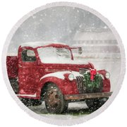 Christmas Chevy Round Beach Towel