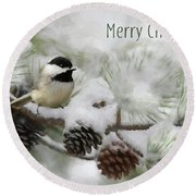 Round Beach Towel featuring the photograph Christmas Chickadee by Lori Deiter