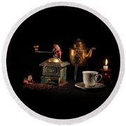 Round Beach Towel featuring the photograph Christmas Coffee-time by Torbjorn Swenelius