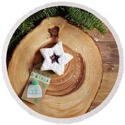 Christmas Cookies Round Beach Towel by Rebecca Cozart