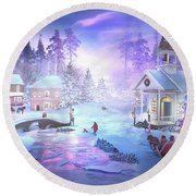Christmas Creek Round Beach Towel