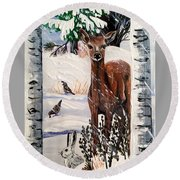 Round Beach Towel featuring the painting Christmas Deer Friends by Jennifer Lake