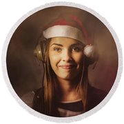 Round Beach Towel featuring the photograph Christmas Disco Dj Woman by Jorgo Photography - Wall Art Gallery