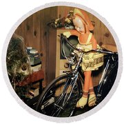 Christmas Doll And Bicycle, 1950's Round Beach Towel by Wernher Krutein