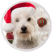 Christmas Elf Dog Round Beach Towel