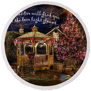 Round Beach Towel featuring the digital art Christmas Eve Card 2016 by Kathryn Strick