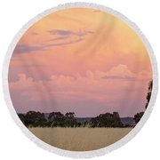 Round Beach Towel featuring the photograph Christmas Eve In Australia by Linda Lees
