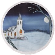 Round Beach Towel featuring the painting Christmas Eve by Jack G Brauer