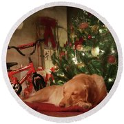 Round Beach Towel featuring the photograph Christmas Eve by Lori Deiter