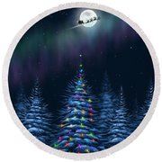 Round Beach Towel featuring the painting Christmas Eve by Veronica Minozzi