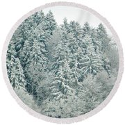 Round Beach Towel featuring the photograph Christmas Forest - Winter In Switzerland by Susanne Van Hulst