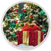 Christmas Gift Round Beach Towel by Christopher Arndt