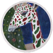 Round Beach Towel featuring the painting Christmas Giraffe by Jamie Frier