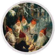 Christmas Gnomes Round Beach Towel by English School