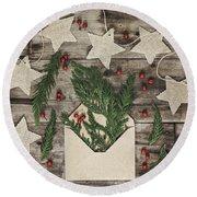 Round Beach Towel featuring the photograph Christmas Greens by Kim Hojnacki