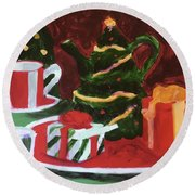Christmas Holiday Round Beach Towel