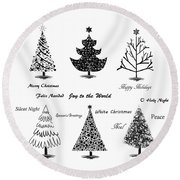 Christmas Illustration Round Beach Towel by Stephanie Frey