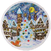 Christmas In Europe Round Beach Towel
