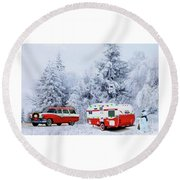 Christmas In The Fifties Round Beach Towel