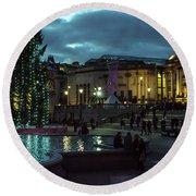 Christmas In Trafalgar Square, London 2 Round Beach Towel