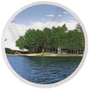 Round Beach Towel featuring the painting Christmas Island Muskoka by Kenneth M Kirsch