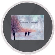 Christmas  Round Beach Towel by Kathy Bassett