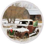 Christmas Lawn Ornament Round Beach Towel