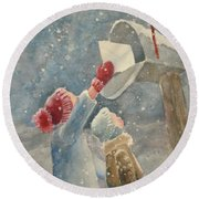 Christmas Letter Round Beach Towel by Marilyn Jacobson