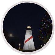 Christmas Lighthouse Round Beach Towel
